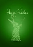 Happy Easter Green Background with Rabbit Royalty Free Stock Photography