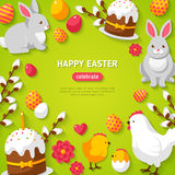 Happy Easter Green Background Stock Image