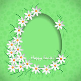 Happy easter  green. Happy easter  with egg and white flowers Royalty Free Stock Photography
