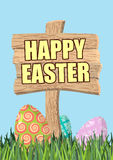Happy Easter. Green grass. Colorful Easter eggs. Traditional tre Stock Image