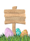 Happy Easter. Green grass. Colorful Easter eggs.  Stock Photography