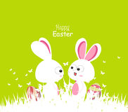 Happy easter green spring with bunny couple and eggs Royalty Free Stock Image