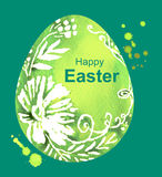 Happy Easter. Green watercolor Easter Egg Stock Photography