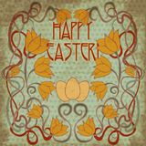 Happy Easter greeting background in art nouveau style Royalty Free Stock Images