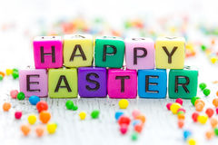 Happy Easter greeting from bright colorful cubes Stock Image