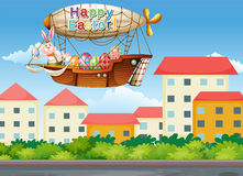 A happy easter greeting with a bunny inside the aircraft Royalty Free Stock Images