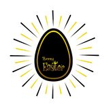 Happy easter greeting card design. Happy easter greeting car design, with black egg Stock Photo