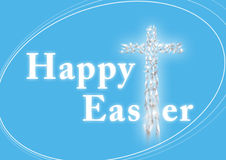 Happy Easter greeting card. With Christian cross - collage of flying doves royalty free stock photography