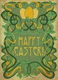 Happy Easter greeting card in art nouveau style, vector Stock Images