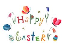 Happy Easter. Greeting card. Artistic work. Watercolors on paper Stock Photos