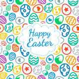 Happy Easter greeting card background color of the eggs seamless pattern Stock Photos