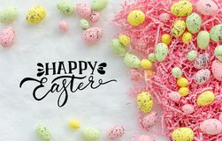 Happy easter greeting card background with pastel ester eggs. stock images