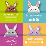 Happy Easter greeting card, background vector design template. Cute bunny character looking out from paper pocket Stock Images