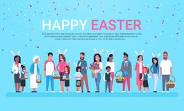 Happy Easter Greeting Card Banner With Group Of People Celebrating Holiday Wear Bunny Ears And Holding Baskets Over. Background With Copy Space Flat Vector Stock Photos