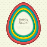 Happy Easter  greeting card, banner or poster design template. Colorful paper background with Easter eggs frame. Stock Photo