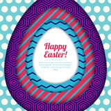 Happy Easter greeting card, banner or poster design template. Colorful paper with geometric textures background. vector illustration