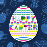 Happy Easter  greeting card, banner or poster design template. Geometric lettering in egg shape. Stock Image