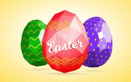 Happy easter greeting card or banner template with modern low polygonal eggs Royalty Free Illustration
