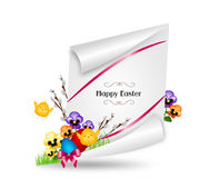 Happy Easter greeting card. Beautiful greeting card to easter holiday with spring flower and eggs Royalty Free Stock Images