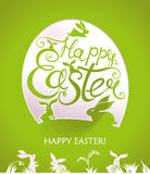 Happy Easter greeting card. Happy Easter. Greeting card with Easter bunnies, flowers and a gift egg Royalty Free Stock Photo