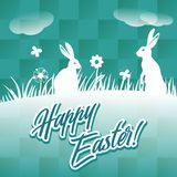 Happy easter greeting card with bunnies Vector Illustration Stock Images