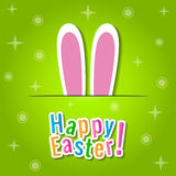 Happy Easter greeting card with bunny ears. Royalty Free Stock Images
