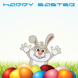 Happy Easter Greeting Card with Bunny and Eggs Stock Images