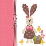 Happy Easter greeting card with bunny girl Stock Photo
