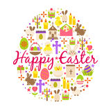 Happy easter greeting card cartoon decoration element egg shaped with text, spring flowers and cupcake isolated on white Stock Photography
