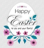 Happy Easter Greeting Card With Cherries Blossom And Egg. Vector Illustration Royalty Free Stock Images
