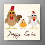 Happy Easter Greeting Card with chicken family. Vector illustration. Stock Photography