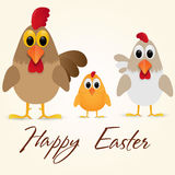Happy Easter Greeting Card with chicken family. Vector illustration. Stock Images