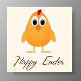 Happy Easter Greeting Card with chicken. Vector illustration. Stock Photo