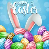 Happy Easter greeting card with colored eggs, flowers and bunny ears on blue background Royalty Free Stock Photo