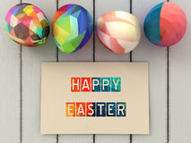 Happy Easter greeting card and Colorful easter eggs  on white wooden background. Easter greeting card design. Royalty Free Stock Photography