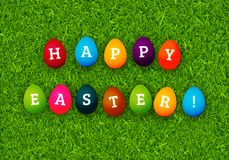 Happy Easter greeting card with colorful eggs on green grass vec. Tor background Royalty Free Stock Images