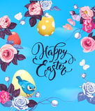 Happy Easter greeting card with colorful eggs, half-colored rose flowers and pretty little bird against blue spring sky Stock Image
