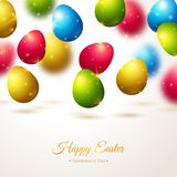 Happy Easter Greeting Card with Colorful Eggs Royalty Free Stock Photos