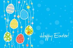 Happy Easter greeting card concept with decorative stripe from eggs