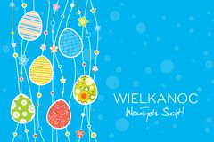 Happy Easter greeting card concept in polish, easter eggs composition