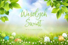 Happy Easter greeting card concept in Polish, spring meadow