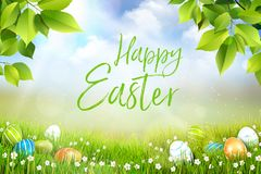 Happy Easter greeting card concept, spring meadow