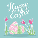 Happy Easter greeting card with creative lettering. Stock Photography