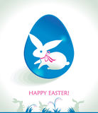 Happy Easter greeting card. Happy Easter greeting card with cute bunny and Easter eggs Stock Images