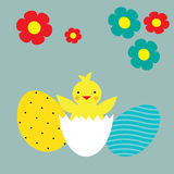 Happy easter greeting card. Cute chicken. Royalty Free Stock Photo