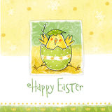 Happy easter greeting card. Cute chicken with text in stylish colors. Royalty Free Stock Images