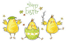 Happy easter greeting card. Cute chicken with text in stylish colors. Concept holiday spring cartoon greeting card.
