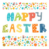 Happy Easter greeting card with cute design elements. Stylish ho Stock Image