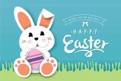 Happy Easter. Greeting card with cute little bunny and lettering design vector illustration