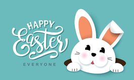 Happy Easter. Greeting card with cute little bunny and lettering design stock illustration
